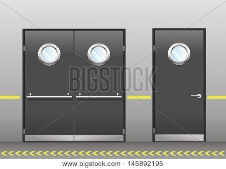 A set of technical laboratory door, hospitals, schools, food production or storage facilities with round windows. A double and a single door in vector graphics. Doors dark gray color on the wall