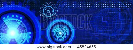 Abstract futuristic technology banner with gears of blue shades. Digital technology and engineering concept design