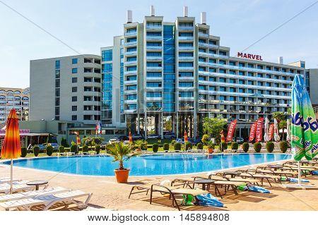 NESSEBAR BULGARIA - SEP 02: View of the facade of the four stars hotel Marvel in Nesebar Bulgaria at September 02 2016