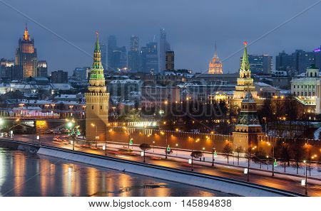top view Moscow Kremlin, Ministry of Interior, Moscow City in winter night.