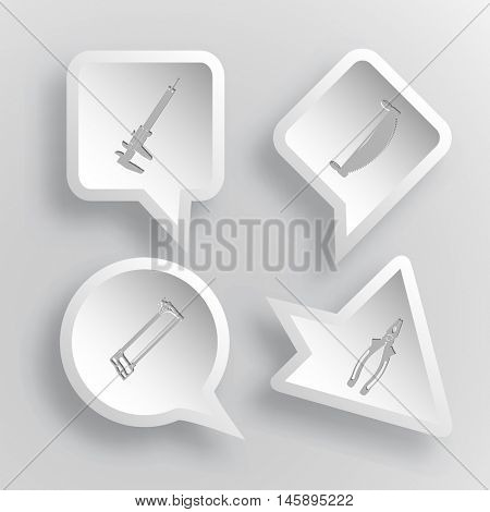 4 images: caliper, two-handled saw, hacksaw, pliers. Angularly set. Paper stickers. Vector illustration icons.