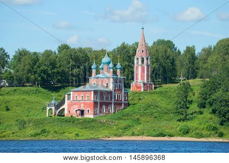 A view of the old Church of the icon of the Mother of God of Kazan on the left bank of the Volga river on a sunny day