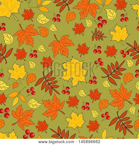 Pattern with autumn leaves on green background. Seamless autumn pattern. Vector. Fabric for the fall collection. Autumn. Foliage