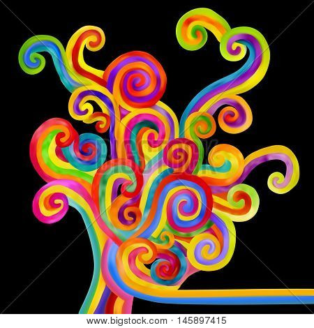 Abstract varicolored curls on black background. Decorative design element