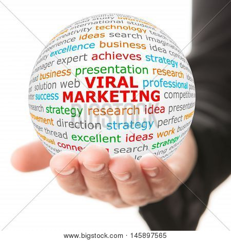 Viral Marketing. Hand take white ball with wordcloud and Viral Marketing words in red color.