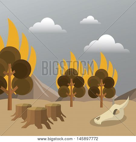 tree on fire and skull icon. Global warming nature and environment design. Vector illustration