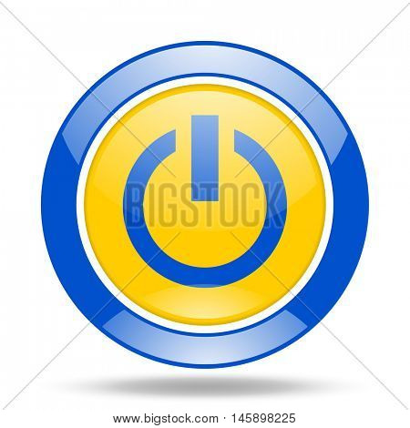 power round glossy blue and yellow web icon