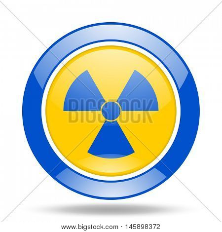 radiation round glossy blue and yellow web icon
