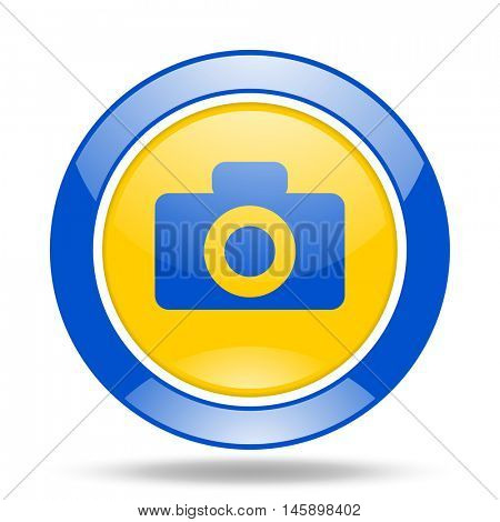 camera round glossy blue and yellow web icon