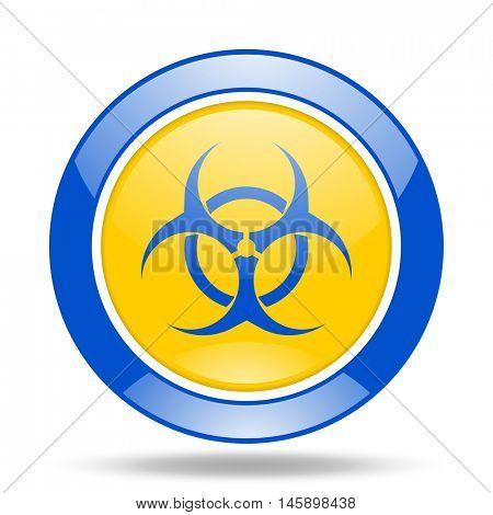 biohazard round glossy blue and yellow web icon