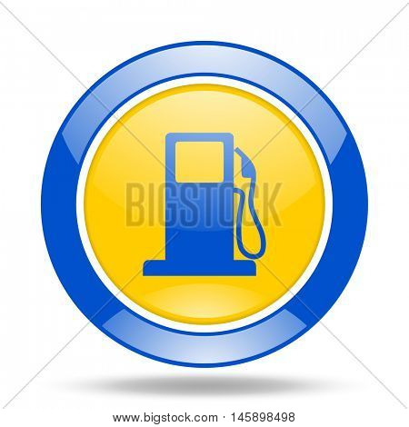 petrol round glossy blue and yellow web icon