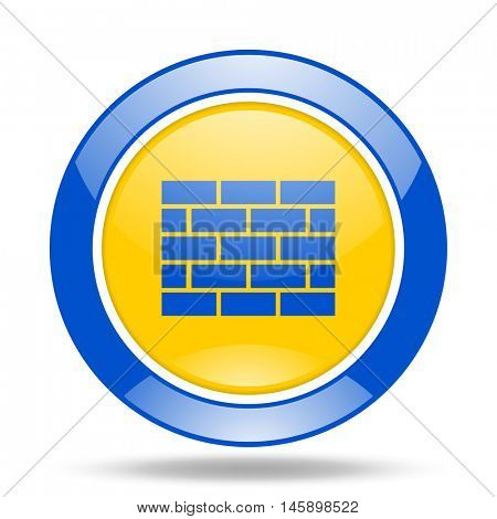 firewall round glossy blue and yellow web icon