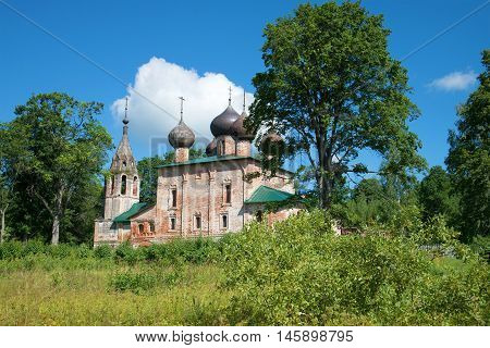 Old church of the Epiphany in the homeland of Admiral F. Ushakov in the village Hopylevo. Yaroslavl region, Russia