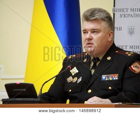 KIEV UKRAINE - November 10 2014: Chairman of the State Emergency Service of Ukraine Colonel Sergei Bochkovsky. Investigators detained at a government meeting Ukraine 25 March 2015 on corruption in the public service of emergencies.