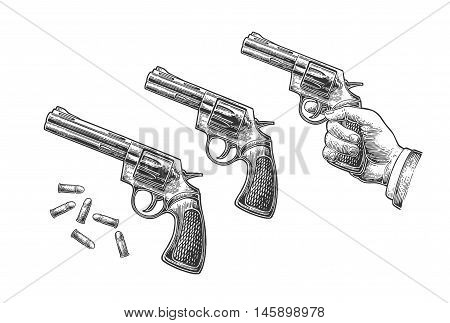 Hand holding revolver with bullets isolated on white background. Short and long barrels. Vector engraving vintage illustrations. For tattoo web shooting club and label
