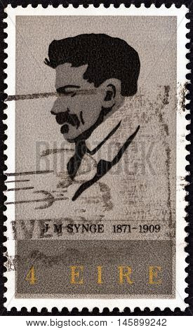 IRELAND - CIRCA 1971: A stamp printed in Ireland issued for the birth centenary of J. M. Synge shows playwright John Millington Synge, circa 1971.