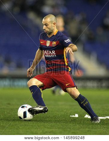 BARCELONA, SPAIN - JAN, 13: Javier Maschenaro of FC Barcelona during a Spanish Kings Cup match against RCD Espanyol at the Power8 stadium on January 13, 2016 in Barcelona, Spain