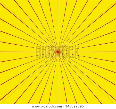 Circular Radial, Radiating Lines Element. Abstract Rays, Beams, Flash Comic Effect In Red, Yellow