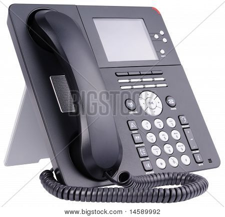 Office Ip Telephone On White