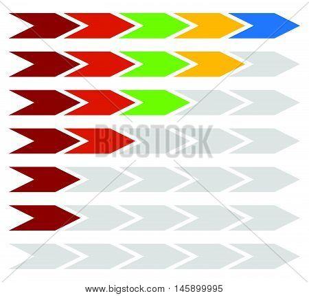 Progress, Step, Level Indicators With 5 Steps Arrows