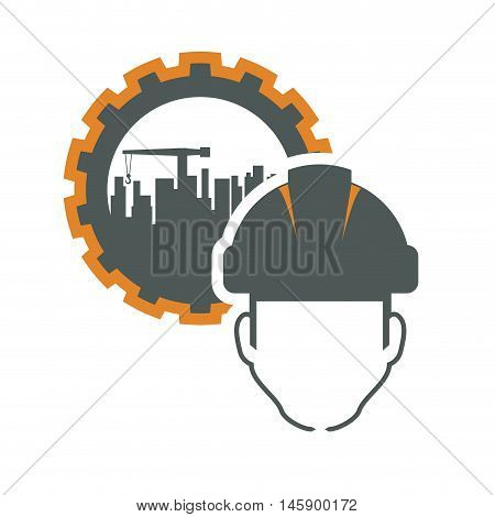 constructer gear and plant icon. Construction repair factory and industry theme. Isolated design. Vector illustration