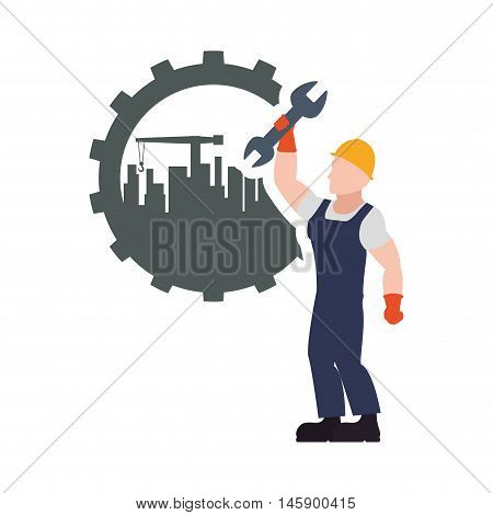 constructer man gear and plant icon. Construction repair factory and industry theme. Isolated design. Vector illustration