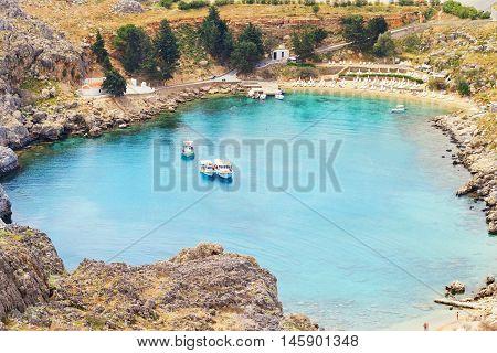 Beach on Lindos island Greece. Shot on cloudy day