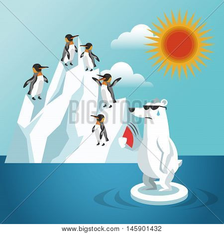 penguin and bear with iceberg icon. Global warming nature and environment design. Vector illustration