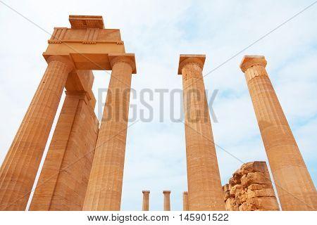 Ancient columns on Lindos island Greece. Horizontal shot