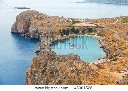 Aerial view over St. Paul Bay and the Aegean sea Lindos Rhodes Island Greece