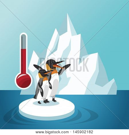 penguin thermometer icon. Global warming nature and environment design. Vector illustration