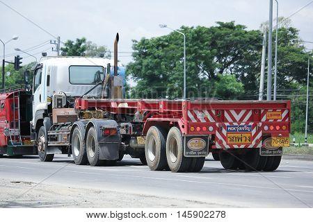 CHIANGMAI, THAILAND -AUGUST 10 2016: Trailer Truck of Chiangmai PK Transport. On road no.1001, 8 km from Chiangmai Business Area.