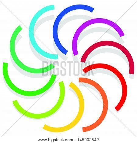 Colorful Spirally Design Element, Abstract Geometric Motif, Symbol, Logo