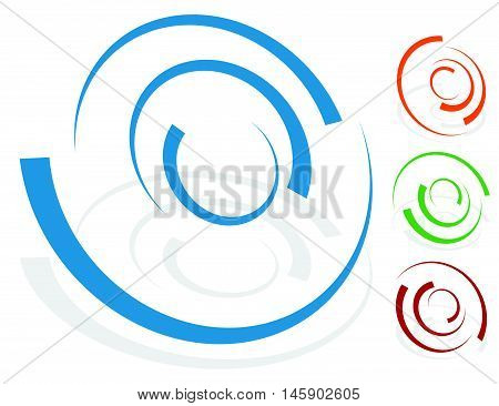 Circular Design Element, Logo Shape (4 Different Version With 4 Colors. Transparent Shadows.)