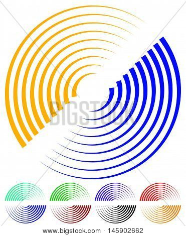 Concentric Circles, Signal, Spiral Shapes. More Colors Included.