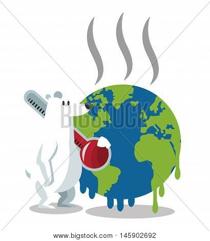 bear and melted planet icon. Global warming nature and environment design. Vector illustration