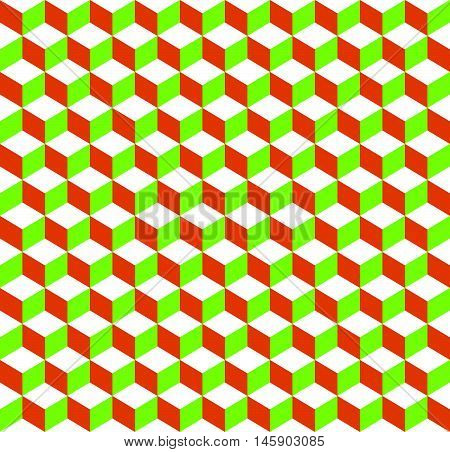 3D Cubes Tricolor Geometric Background - Seamlessly Repeatable