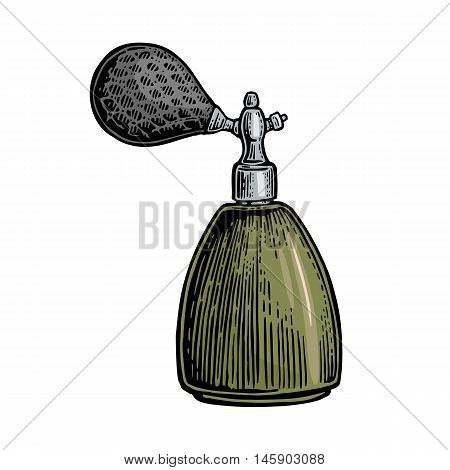 Perfume bottle spray. Vector color illustrations on white backgrounds. Hand drawn vintage engraving for poster label banner web
