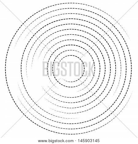 Concentric Circles With Dashed Lines. Circular Spiral Element
