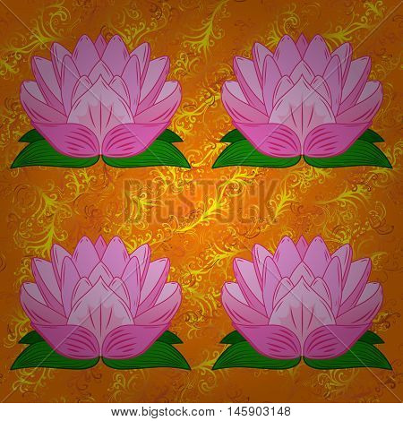 Orange background with lilac lotus. Vector illustration.