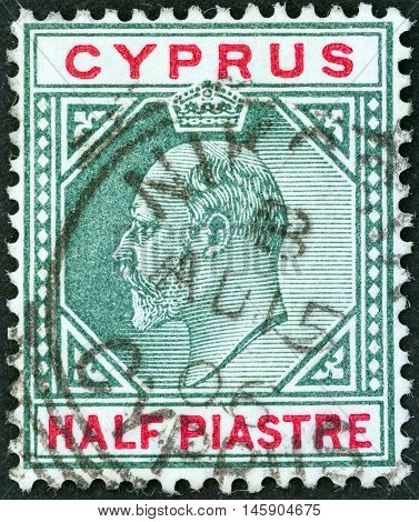 CYPRUS - CIRCA 1903: A stamp printed in Cyprus shows King Edward VII, circa 1903.