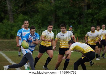 rugby play in Russia in the rain