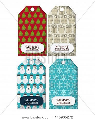 snowman snowflake pinetree and gifts labels. Merry christmas card icon. Colorful design. Vector illustration
