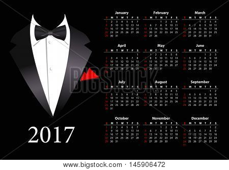 Vector American calendar 2017 with elegant suit, starting from Sundays