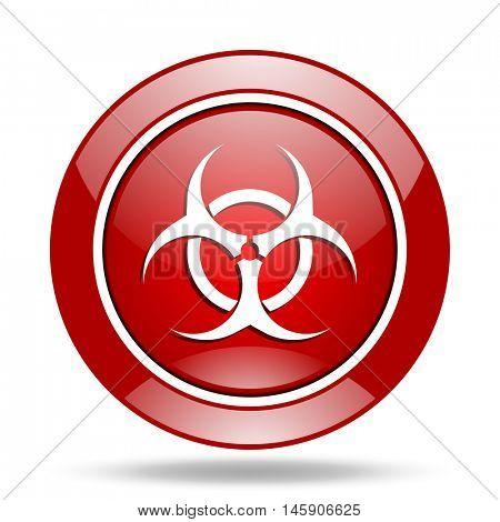 biohazard round glossy red web icon