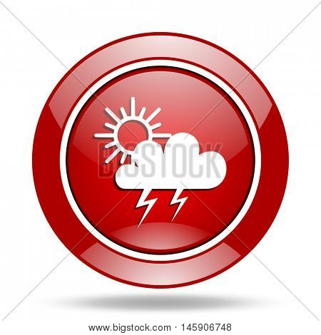 storm round glossy red web icon