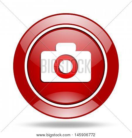camera round glossy red web icon