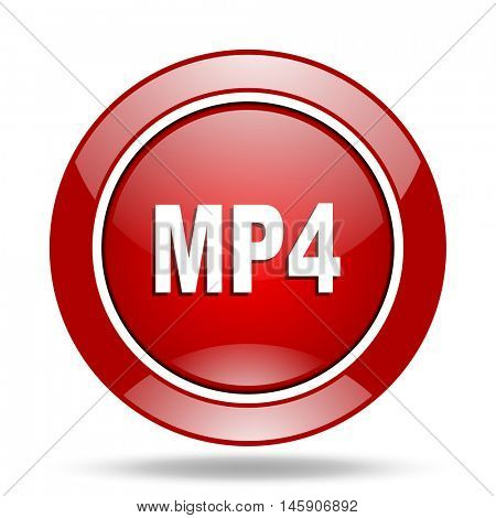 mp4 round glossy red web icon