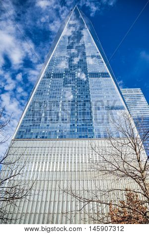 NEW YORK - DECEMBER 28, 2015: One World Trade Center (Freedom Tower). Manhattan, New York, USA.