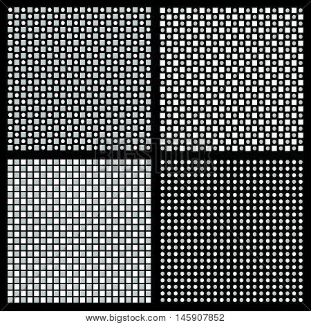 Set Of 4 Grayscale Regular Pattern With Squares And Circles
